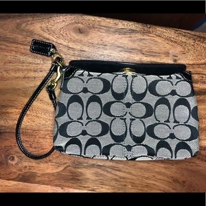 Coach Large Black Signature Turnlock Wristlet